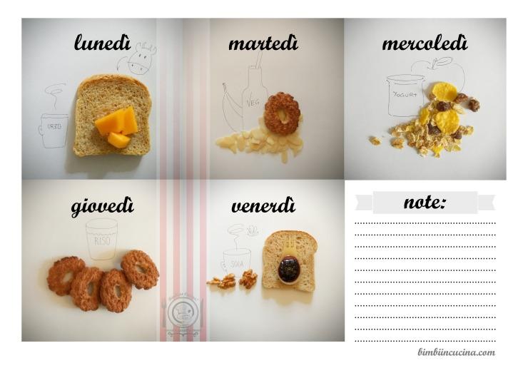 calendario settimanale della colazione ideale